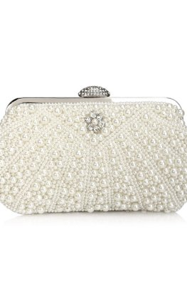 Cream Diamond-Studded Knob Pearls Clutch