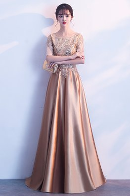 Gold Round Neck Sequins Illusion Elbow Sleeves A-Line Gown