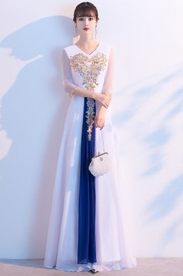 White Blue V-Neck Illusion Sleeves Gold Sequins Ornament Gown