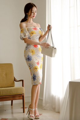 Light Yellow Off-Shoulder Assorted Floral Sheath Dress