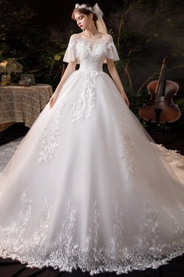 White Illusion Neckline Open Sleeves Lace-Lined Wedding Gown
