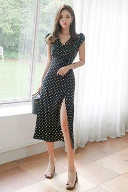 Black V-Wrap Cap Sleeves Front High Slit Polka Dot Dress