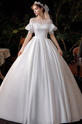 White Illusion Neckline Off-Shoulder Bubble Sleeves Ribbon Silk Wedding Gown