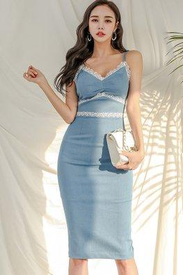 Blue Strap Lace-Lined Back Slit Sheath Dress