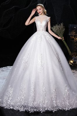 White Polka Dot Illusion Sweetheart Neckline Sequins Lace-Lined Wedding Gown