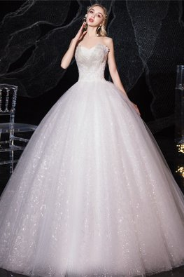 White Sweetheart Full Patterned Sequins Wedding Gown