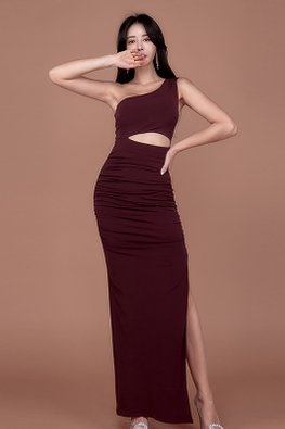 Wine Red Toga Peekaboo Front Side Slit Long Dress