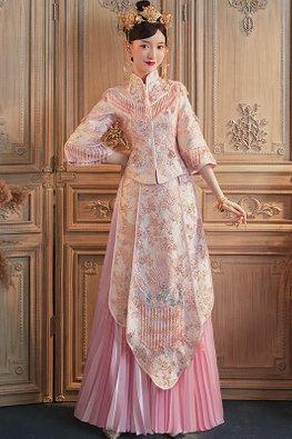 Pink Pleated Wide Sleeves Elaborated Embroidery Tassels Kua