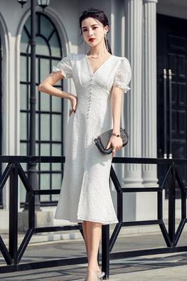 White V-Neck Short Sleeves Centre Slit Patterned Lace Dress