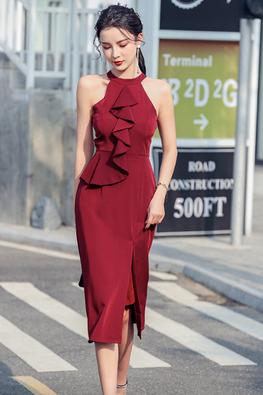 Wine Red / Black Halter Neck Ruffle Front Slit Dress