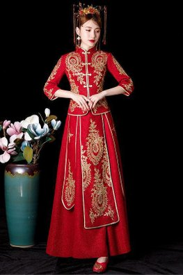 Red 3/4 Sleeves Gold Rims Embroidery Traditional Glitter Kua