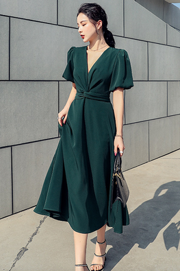 Peacock Green / Pink Low V-Neck Puff Sleeves Dress