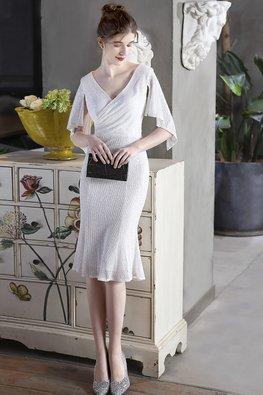 White / Black V-Neck Open Sleeves Mermaid Sequins Dress