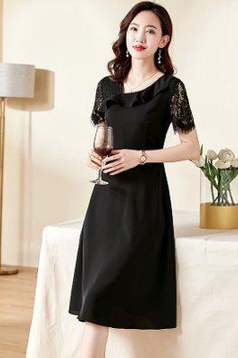 Pink / Black Irregular V-Neck Short Lace Sleeves A-Line Dress