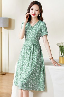 Green Laced V-Neck Short Sleeves White Floral A-Line Dress