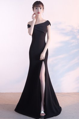 Black One-Shoulder Pleated High Slit Gown (Express)