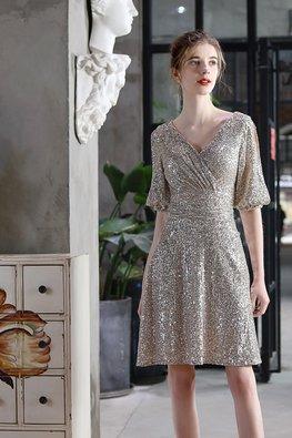 Silver / Black V-Wrap Bubble Peekaboo Sleeves A-Line Sequins Dress