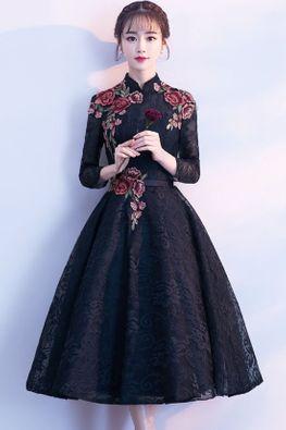 Assorted Colours Mandarin Collar Floral Applique A-Line Gown