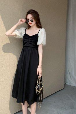 2-Way Black Bustier Cream Puff Sleeves Pearl Cross Back Dress