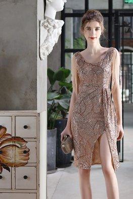 Black / Gold V-Neck Sleeveless Tassels Open Front Slit Dress