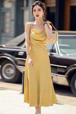 Midnight Grey / Yellow Tie Strap Gather-Front A-Line Midi Dress