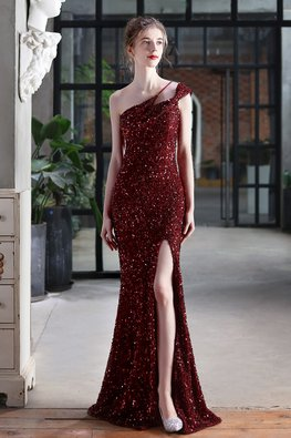 White / Maroon Side Strap Front High Slit Sequins Gown