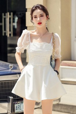 White Square Neckline Illusion Sleeves Lace Front Romper