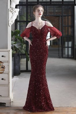 Gold / Wine Red Low Sweetheart Illusion Front Strap Mermaid Gown