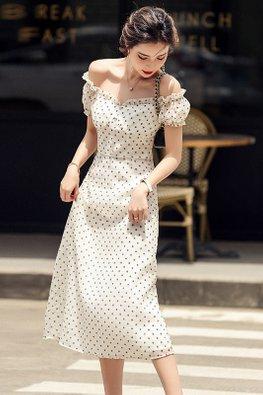 2-Way Cream Almond Squarish Neckline Floral Dotted Dress