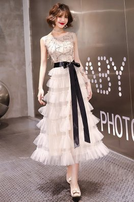 Champagne Illusion Sweetheart Sequins Front Layered Ribbon Mesh Gown