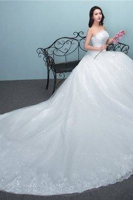 White Strapless Pleated Floral Bejeweled Patterned Sequins Wedding Gown