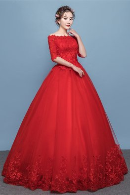Red Off-Shoulder Elbow Sleeves Lace Wedding Gown