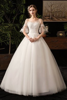 White Sweetheart Illusion Floral Lace Sleeves Wedding Gown