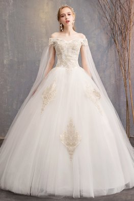 White Off-Shoulder Extended Illusion Sleeves Gold Embroidery Wedding Gown