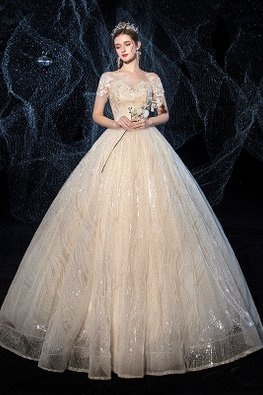 Champagne Sweetheart Short Lace Sleeves Sequins-Lined Wedding Gown