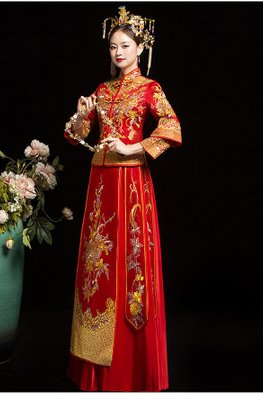 Red Double Sleeves Pleated Bottom Gold Floral Embroidery Kua