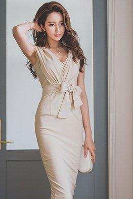 Almond V-Neck Ribbon Tie-Front Sheath Dress