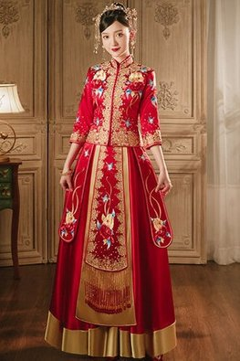 Red 3/4 Sleeves Double Floral Gold Rims Kua