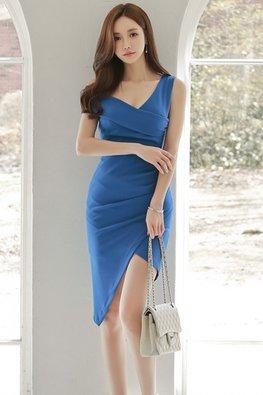 Blue Irregular V-Neck Bandage Mini Dress