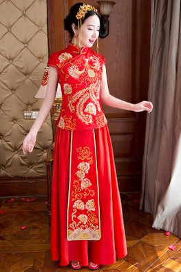 Bright Red Cap Sleeves Phoenix Floral Embroidery Minimalist Kua