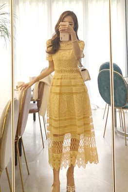 Yellow Round Neck Illusion Intricate Lace Patterned Dress