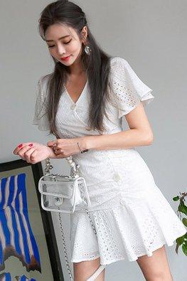 White V-Neck Wide Sleeves Button Side Down Mermaid Mini Dress