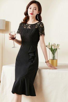 Black Round Neck Illusion Lace Sleeves Side Ruffles Mermaid Dress