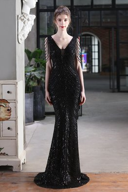 Gold / Black V-Plunge Beaded Tassel Sleeves Sequins Gown