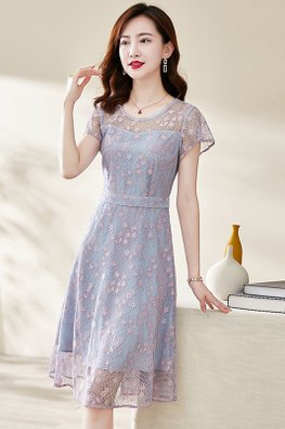 Blue Pink Round Illusion Neck Short Sleeves Floral Lace Dress