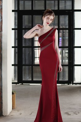 White / Wine Red One-Shoulder Crystal Embellishments Mermaid Gown