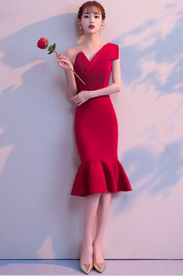 Wine Red Asymmetrical Neckline Sleeveless Mermaid Cocktail Dress (Express)