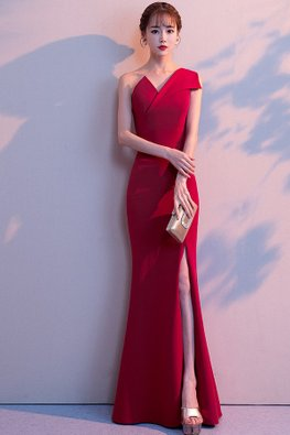 Wine Red / Red Asymmetrical Neckline Sleeveless Fit & Flare Dress