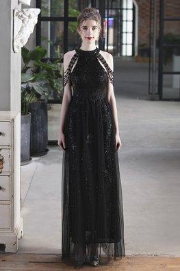 Black / White Halter Neckline Tassel Sleeves Sequins Mesh Gown