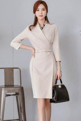 Almond V-Wrap 3/4 Sleeves Belted Dress